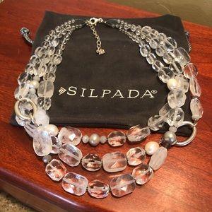 Silpada White Heat Quartz Pearl Agate SS Necklace
